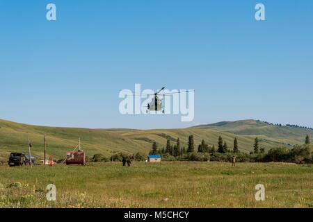 Helicopter base in Karkyra Valley, Central Tian Shan Mountain range, Border of Kyrgyzstan and China, Kyrgyzstan - Stock Photo