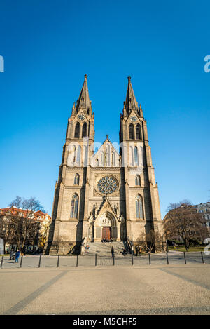 Prague, Czech Republic- February 21, 2018: People are visiting Namesti Miru square in Prague, Czech Republic where - Stock Photo