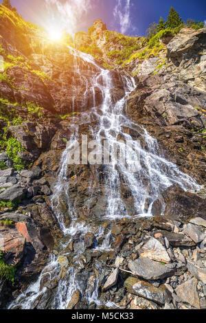 Capra waterfall in Fagaras mountains, Romania - Stock Photo