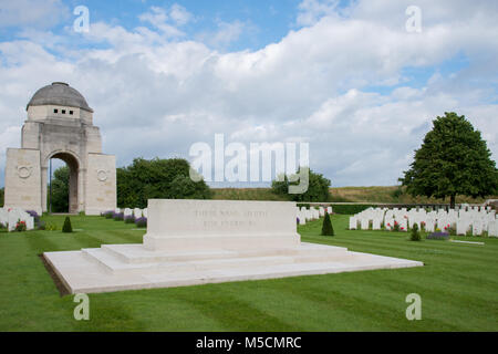 The Monument and Entrance Archway at Cabaret Rouge British War Cemetery - Stock Photo