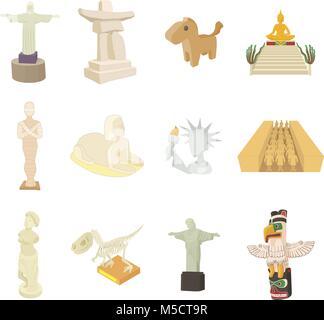 Statue icon set, cartoon style - Stock Photo
