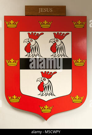CAMBRIDGE, ENGLAND, UK - DECEMBER 03 2011: Coat of Arms of Jesus College Cambridge - Stock Photo