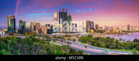 Perth. Panoramic cityscape image of Perth skyline, Australia during dramatic sunset. - Stock Photo