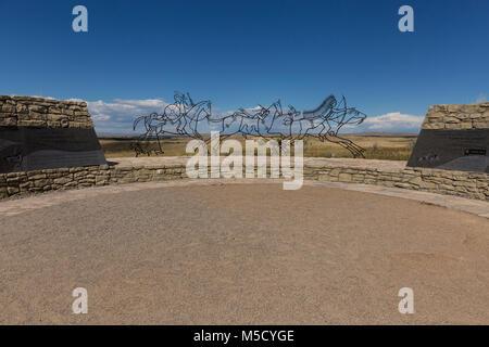 Indian memorial. Sept, 2016. Little Bighorn Battlefield National Monument, Montana, USA - Stock Photo