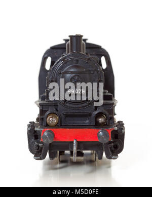 Front view of a 1950s vintage model steam locomotive - Stock Photo