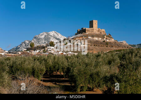 Snowy landscape, castle and olive grove, Alcaudete, Jaen province, Region of Andalusia, Spain, Europe - Stock Photo