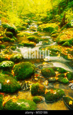 Impressionist art of autumn along the Roaring Fork Creek, Great Smoky Mountains National Park, Tennessee, United - Stock Photo