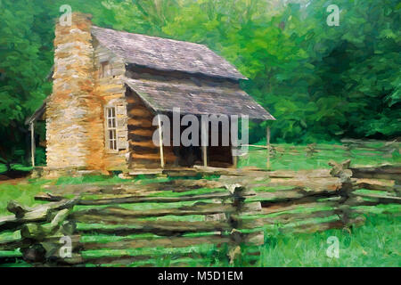 Impressionistic Art of the John Oliver Place in Cades Cove, Great Smoky Mountains National Park, Tennessee, United - Stock Photo