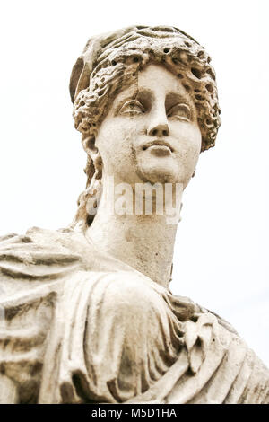 closeup head of Goddess Diana marble sculpture of Lvov city fountain - Stock Photo