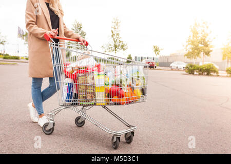 Unseen girl takes products to home - Stock Photo