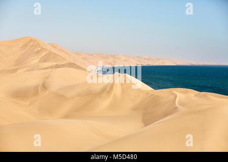 Sand dunes on the Atlantic coast near Lange Wand, Namib-Naukluft-Park, Namibia - Stock Photo