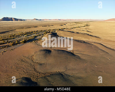 Aerial photo, view from hot air balloon, Tsaris mountains, Kulala Wilderness Reserve, Namib Desert, Hardap Region, - Stock Photo