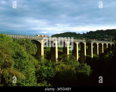 Pontcysyllte Aqueduct on the Llangollen Canal, Wrexham, North Wales, built by Thomas Telford and William Jessop - Stock Photo