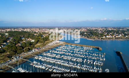 Aerial photography of Pornic city and marina in Loire Atlantique - Stock Photo