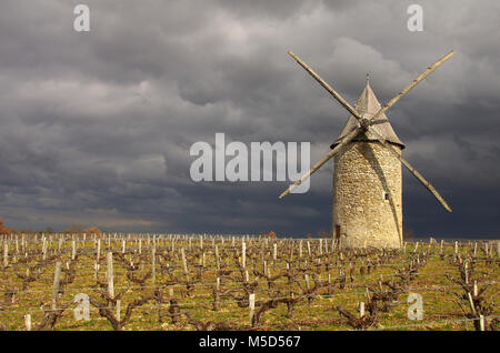 french windmill. The windmill of Courrian is situated in the Gironde department in Aquitaine in southwestern France - Stock Photo