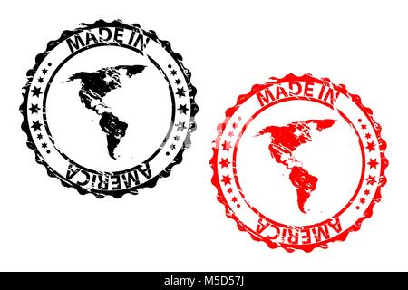 Made in America - rubber stamp - vector - America continent map pattern - black and red - Stock Photo