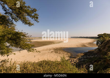 Irrawaddy River with sandbar in Bagan, Myanmar - Stock Photo