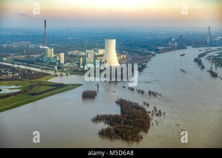 Flood on Rhine with Walsum power plant, near Duisburg, Ruhr Area, North Rhine-Westphalia, Germany - Stock Photo