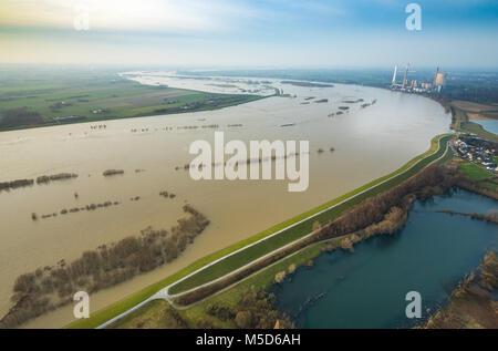 Flood on the Rhine, Walsum power plant, near Dinslaken, Ruhr area, North Rhine-Westphalia, Germany - Stock Photo