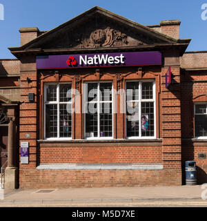 NatWest Bank, National Westminster Bank, old red brick traditional High Street Bank, Market Harborough, Leicestershire, - Stock Photo