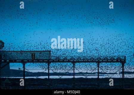 Aberystwyth Wales UK, Thursday  22 Feb 2018  UK Weather:  In the steel blue light of a cold February evening in - Stock Photo