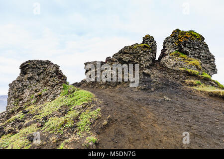 Stones near the hafragilsfoss waterfall in iceland in summer - Stock Photo