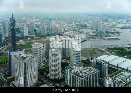 Aerial view of beautiful Yokohama cityscape - Stock Photo