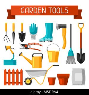 Seamless pattern with garden tools and icons. All for gardening business illustration - Stock Photo
