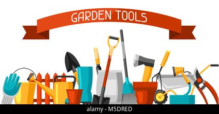 Banner with garden tools and icons. All for gardening business illustration - Stock Photo