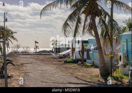 Hurricane Irma Storm Damage To Abandoned Trailer Park, Islamorada, Florida, USA - Stock Photo