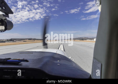 Takeoff In Small Prop Plane - Stock Photo