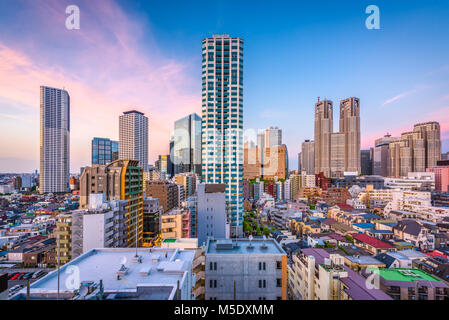 West Shinjuku, Tokyo, Japan financial district cityscape over residential apartments. - Stock Photo