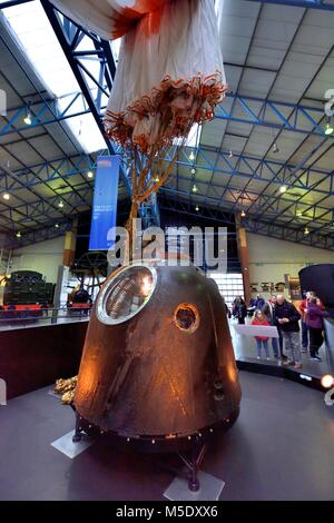 Tim Peake's Spacecraft the Soyuz TMA-19M Decent Module, National Railway Museum in York,North Yorkshire England - Stock Photo
