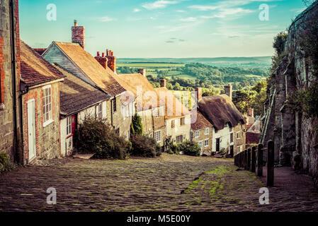 Beautiful Countryside Hill - Gold Hill, Shaftsbury - Stock Photo