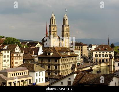 Zurich cityscape with Great Minster church, Zurich, Switzerland - Stock Photo