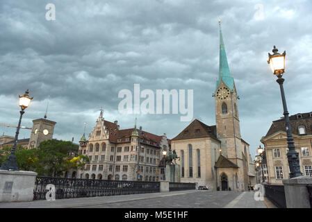 Fraumunster Church at evening time in Zurich, Switzerland - Stock Photo