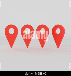 3d rendering of navigation sign isolated white background - Stock Photo