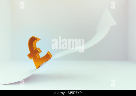 3d rendering of abstract pound sign with increasing arrow - Stock Photo