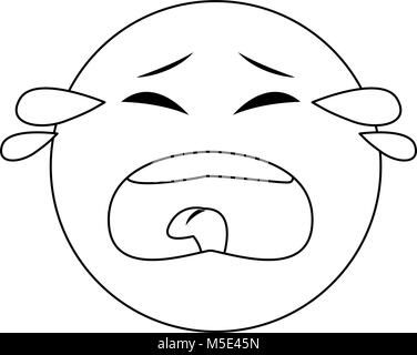 Sad Crying Emoji Emoticon Icon Cartoon Character Stock Vector Art & Illustration ...