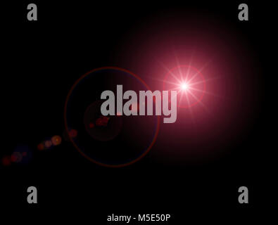 Light, bright sunbeam in space. Star glow. Red light and a dark background - Stock Photo