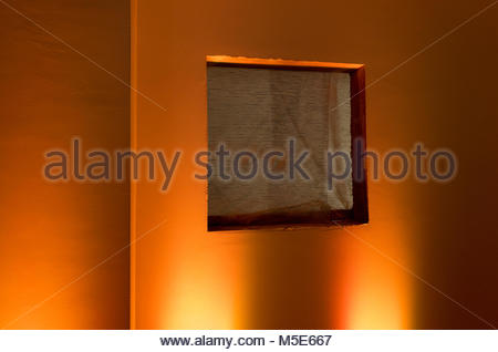 Wire mesh on window wall renovating construction - Stock Photo