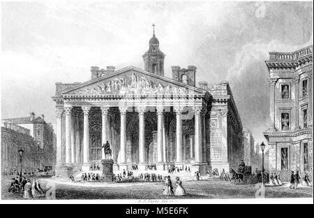 An engraving of the Royal Exchange, London scanned at high resolution from a book printed in 1851. Believed copyright - Stock Photo