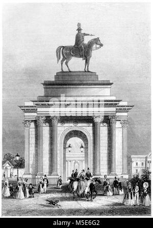 An engraving of the Entrance to Green Park, London scanned at high resolution from a book printed in 1851. Believed - Stock Photo