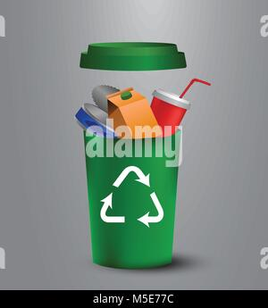 recycling bins illustration - Stock Photo