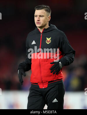 Ostersunds FK's Jamie Hopcutt warms up prior to the UEFA Europa League round of 32, second leg match at the Emirates - Stock Photo
