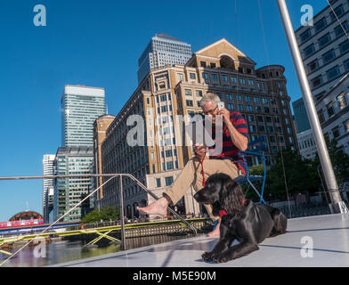 Mature man with pet spaniel dog sitting outside on his office barge talking on smartphone iPhone & checking his - Stock Photo