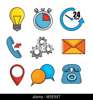 set of call center support icon - Stock Photo