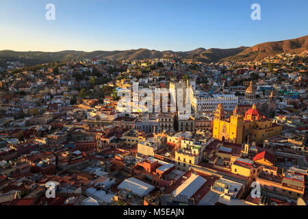 Horizontal bird's eye view of the colorful city of Guanajuato in central Mexico, UNESCO World Heritage Site since - Stock Photo