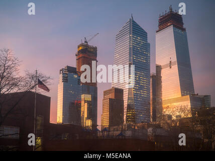 10 Hudson Yards, center, 30 Hudson Yards, right, and other Hudson Yards development in New York on Tuesday, February - Stock Photo