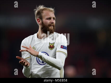 Ostersunds FK's Curtis Edwards during the UEFA Europa League round of 32, second leg match at the Emirates Stadium, - Stock Photo